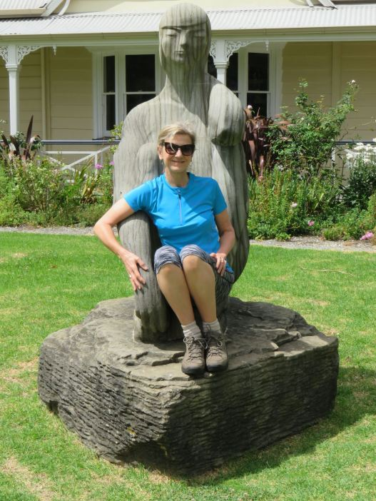 Lyn Relaxes on a Sculpture